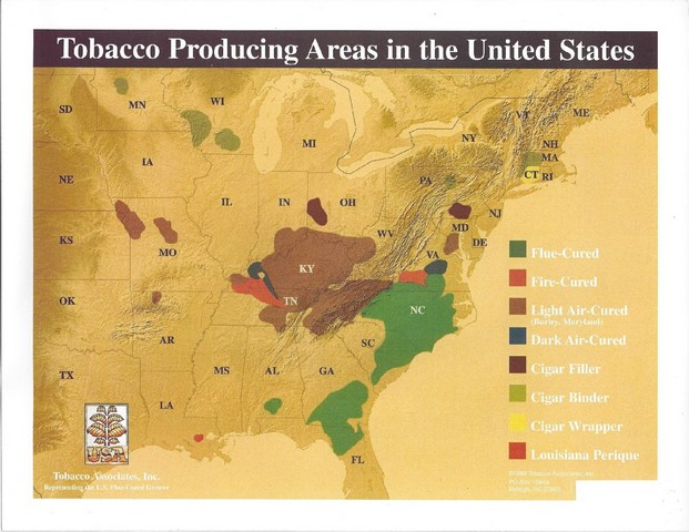 US Tobacco growing areas